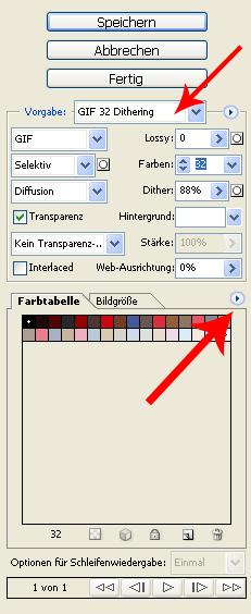 """Einstellungen """"Für Web speichern..."""""""