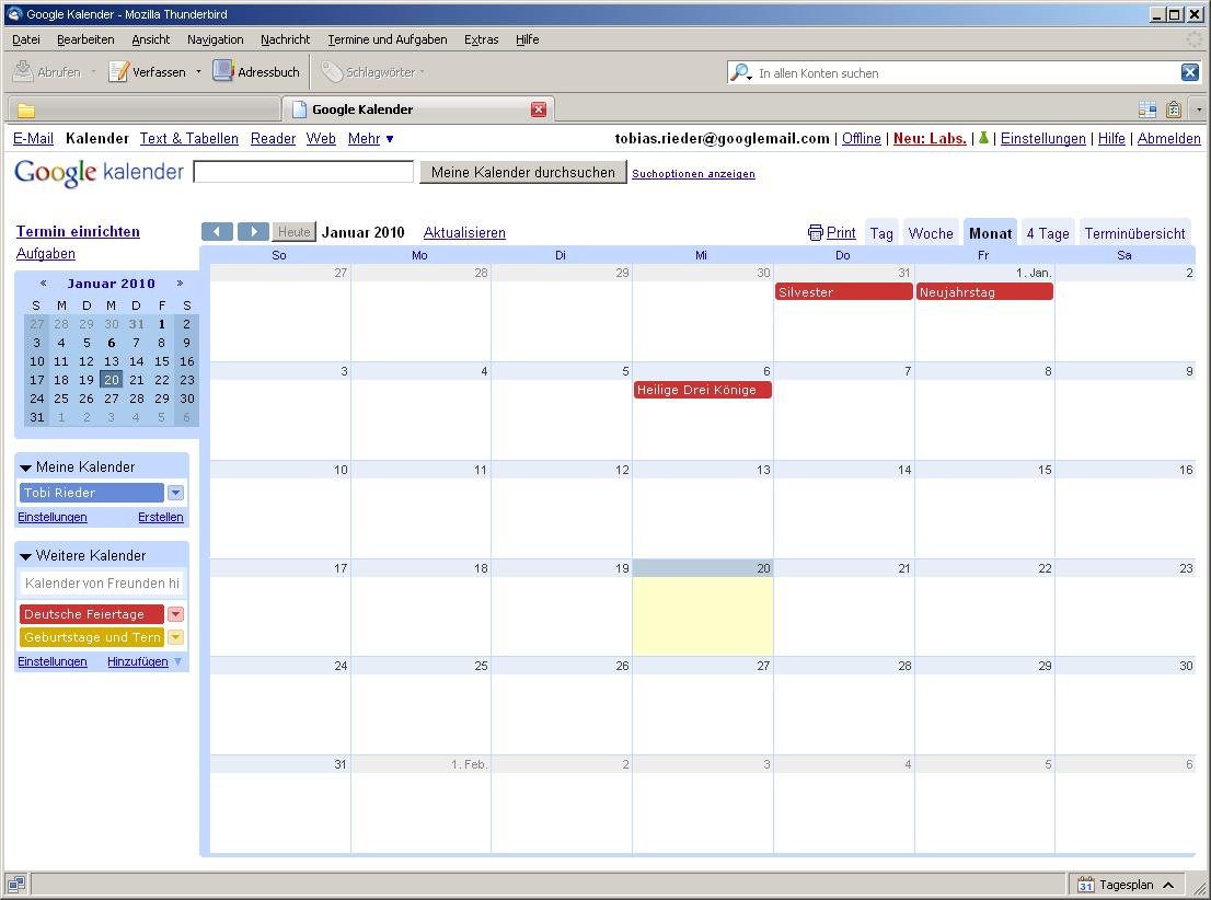Google Kalender Für Thunderbird