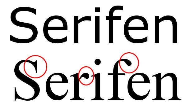 Serifen sind hier rot markiert