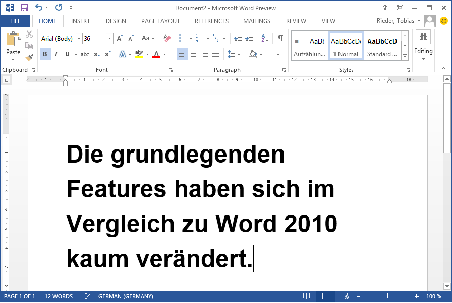 Word 2013 Preview Screenshot