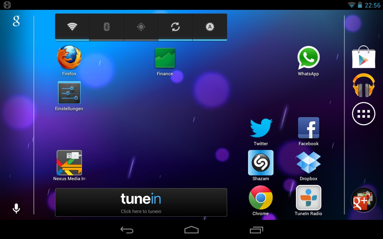 Nexus 7 Homescreen im Landscape-Modus