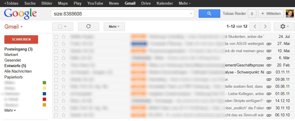 Google Mail: Mails nach Größe filtern