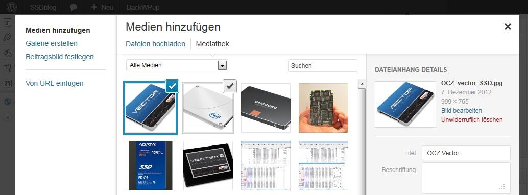 Wordpress 3.5 - neuer Medien Manager