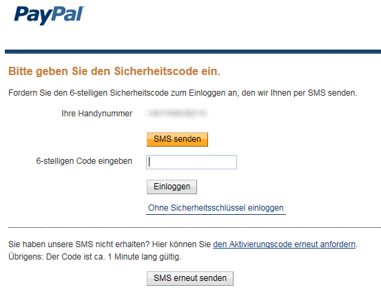 Paypal Bestätigungscode Sms