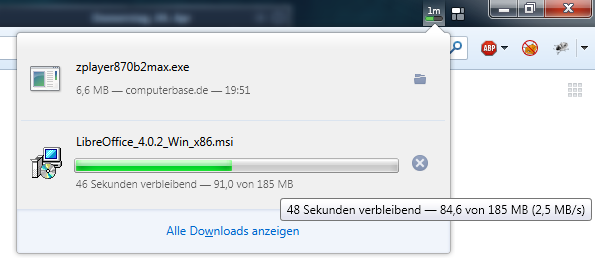 Firefox: neuer Downloadmanager