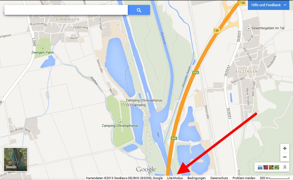 Google Maps Lite-Modus