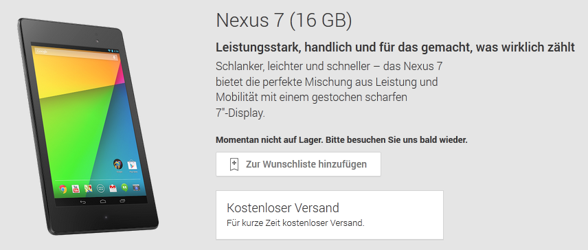 Nexus 7 ausverkauft