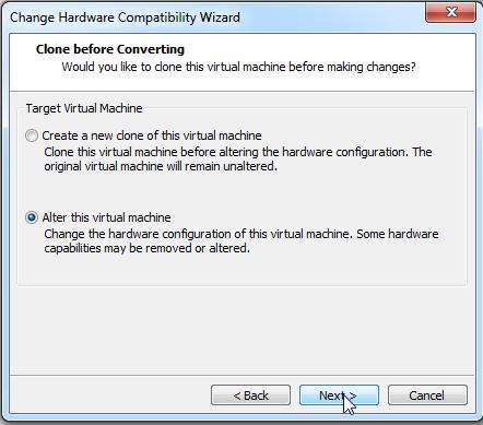 Abbildung 9: Hardware Level ändern