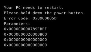 0x0000005D Error