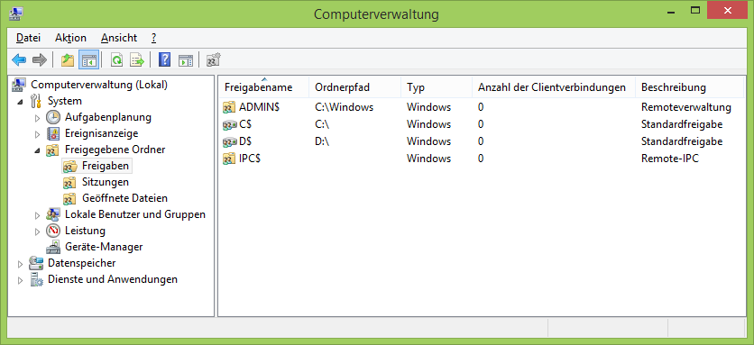 Administrative Standardfreigaben unter Windows