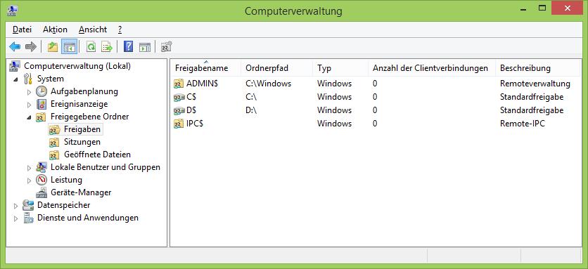 Administrative Standardfreigaben unter Windows