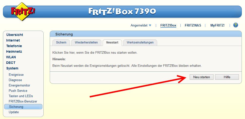 FRITZ!Box neustarten