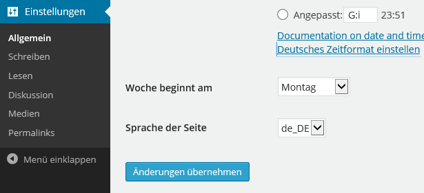 WordPress 4.0 Sprache