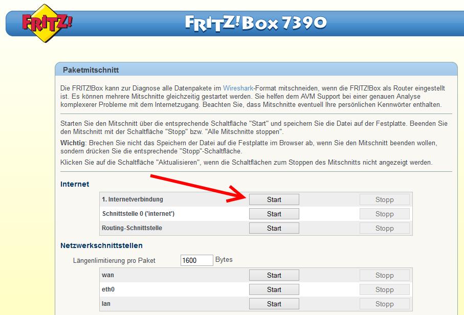FRITZ!Box Paketmitschnitt