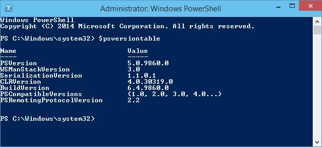 PowerShell 5.0