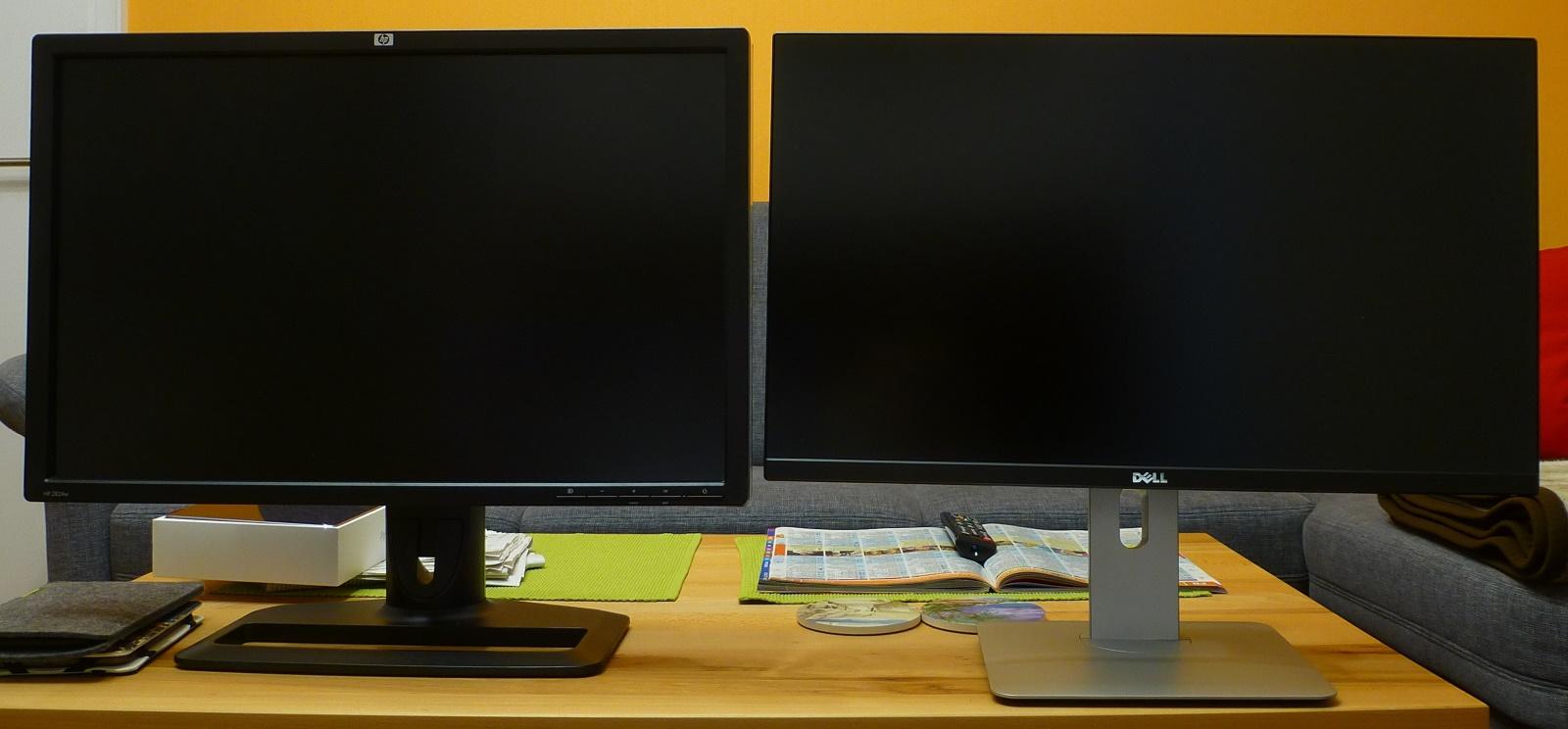 HP ZR24w (links) und Dell U2515 (rechts)