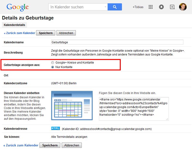 Google Kalender Geburtstage