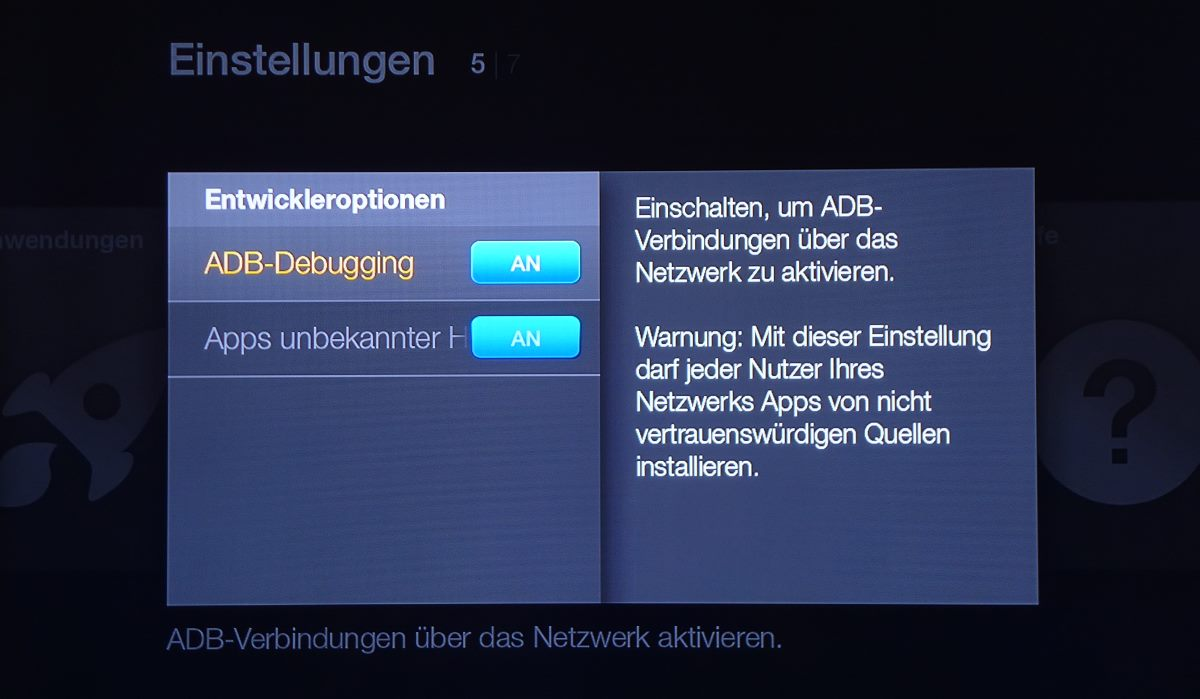 Amazon Fire TV Stick Entwickleroptionen