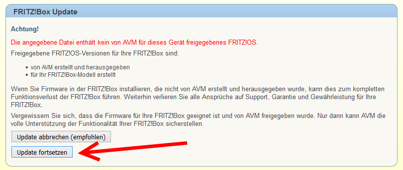 FRITZ!Box Update Warnung