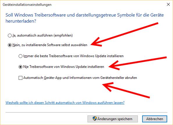 Windows 10 Geräteinstallationseinstellungen