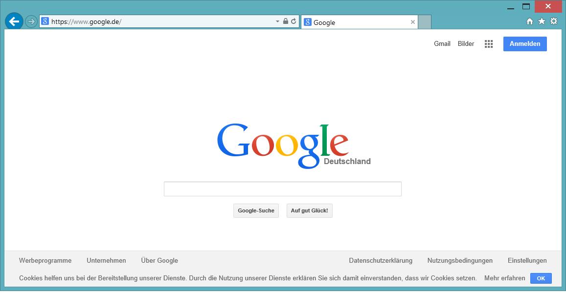 Cookie-Hinweise auf Google.de