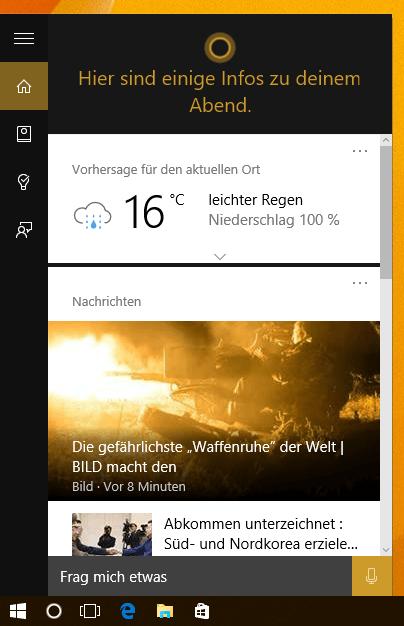 Cortana aktiviert