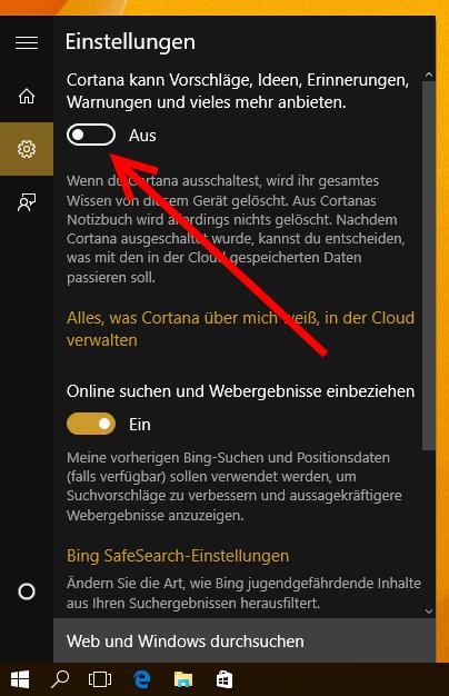 Cortana deaktivieren
