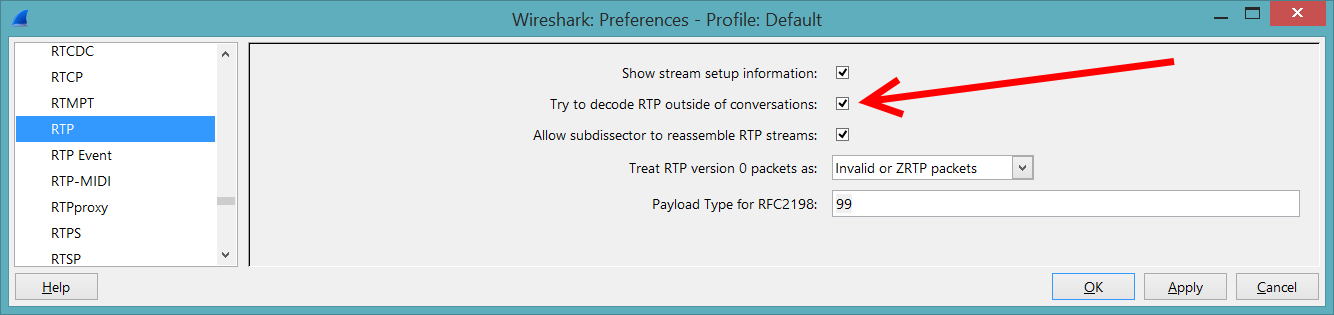 Wireshark RTP