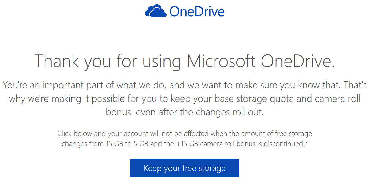 One Drive Keep your free storage