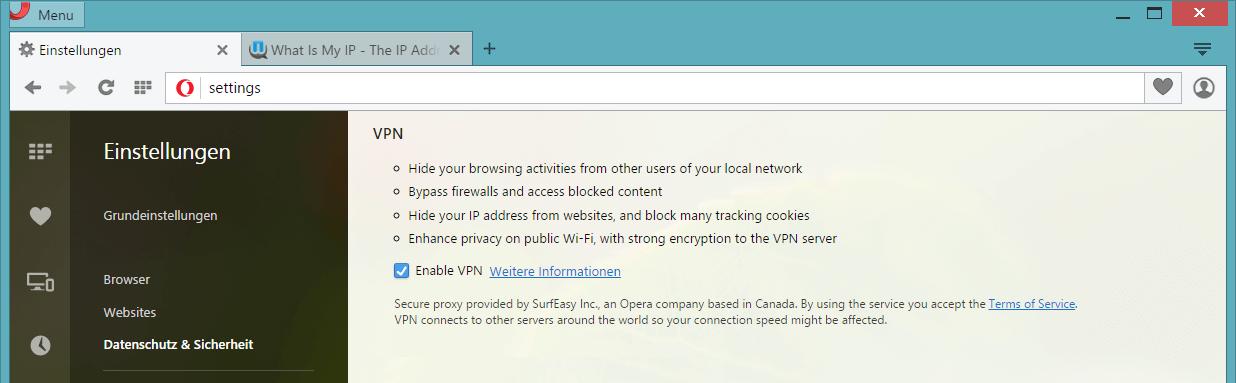 Opera VPN aktivieren