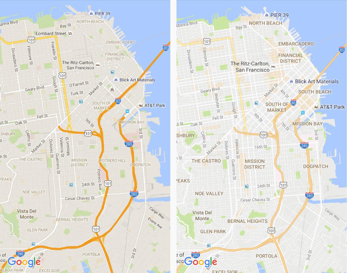 Altes (links) und neues (rechts) Karten-Design (Bild: Google)