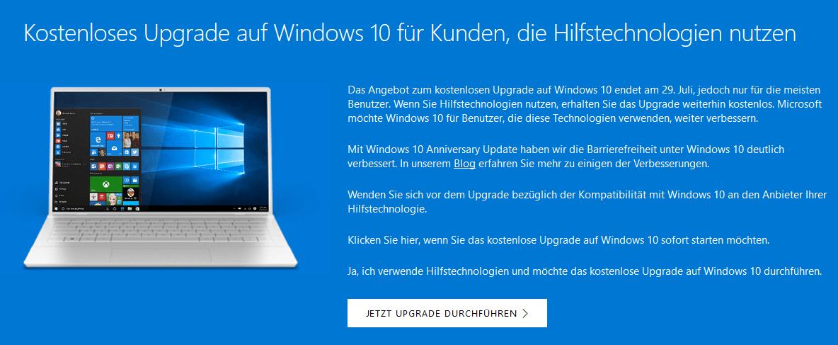 Kostenloses Upgrade auf Windows 10 für Kunden, die Hilfstechnologien nutzen