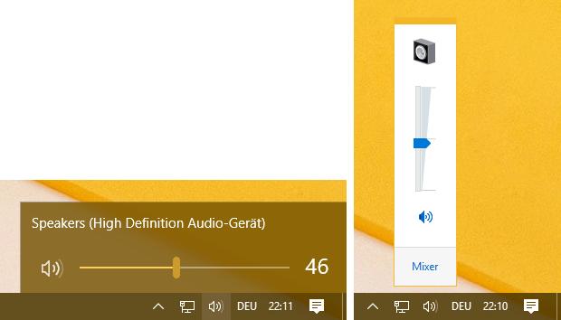 Windows 10 Lautstärkeregelung