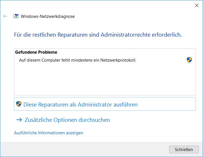 Windows 10 Fehler Netzwerkprotokoll fehlt