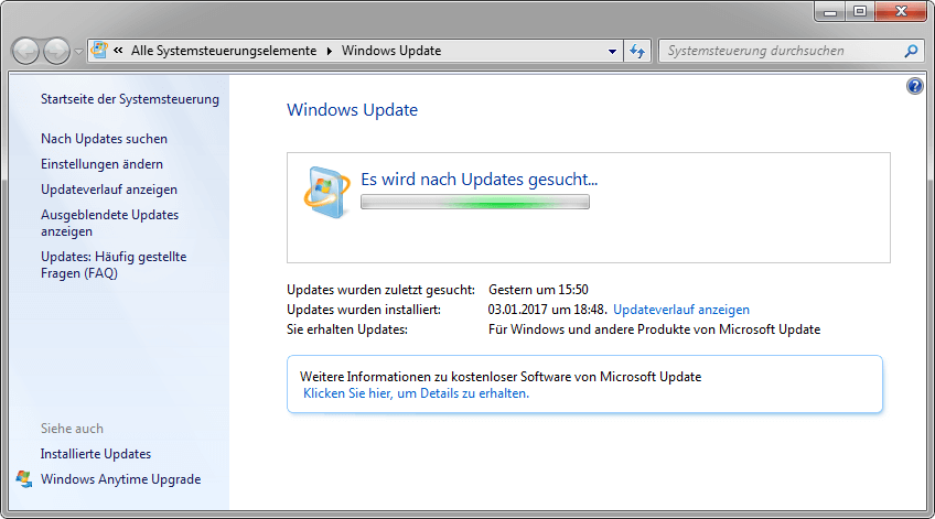 Windows 7 Update Suche