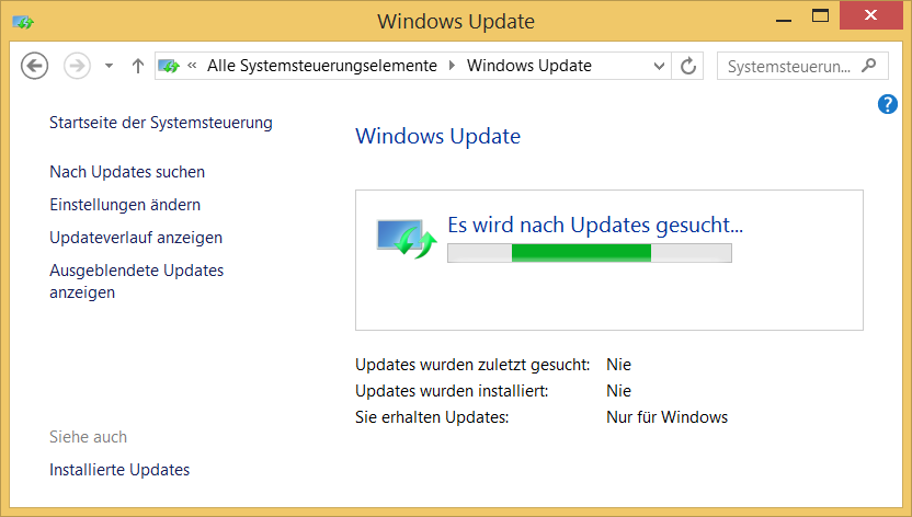 Windows 8.1 Update Suche