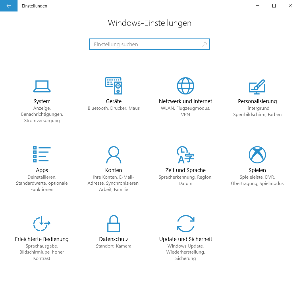 Windows 10 Version 1703 Einstellungen