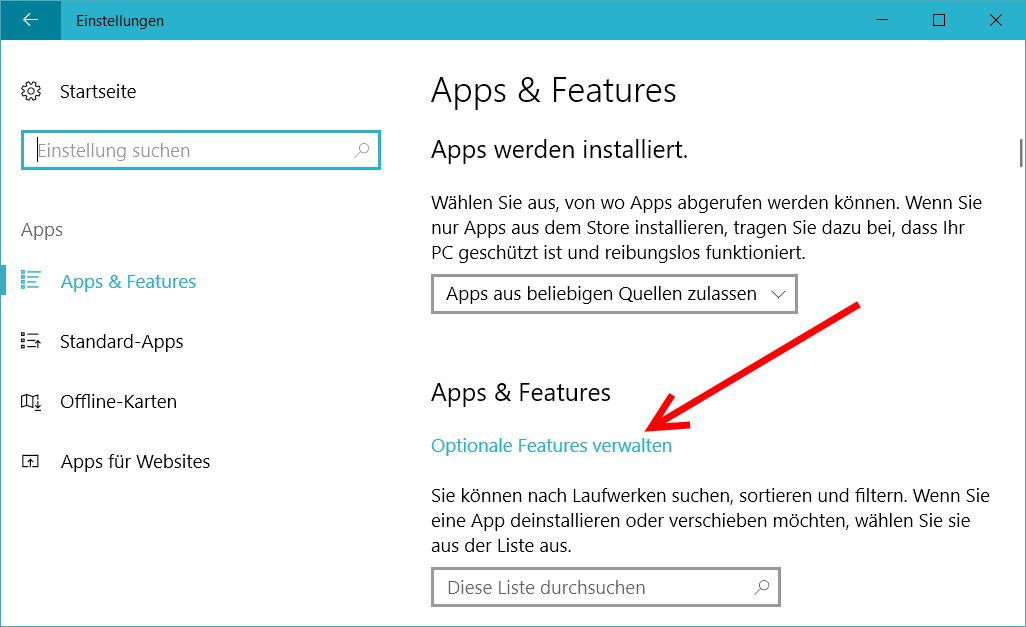 Windows 10 - Optionale Features Verwalten