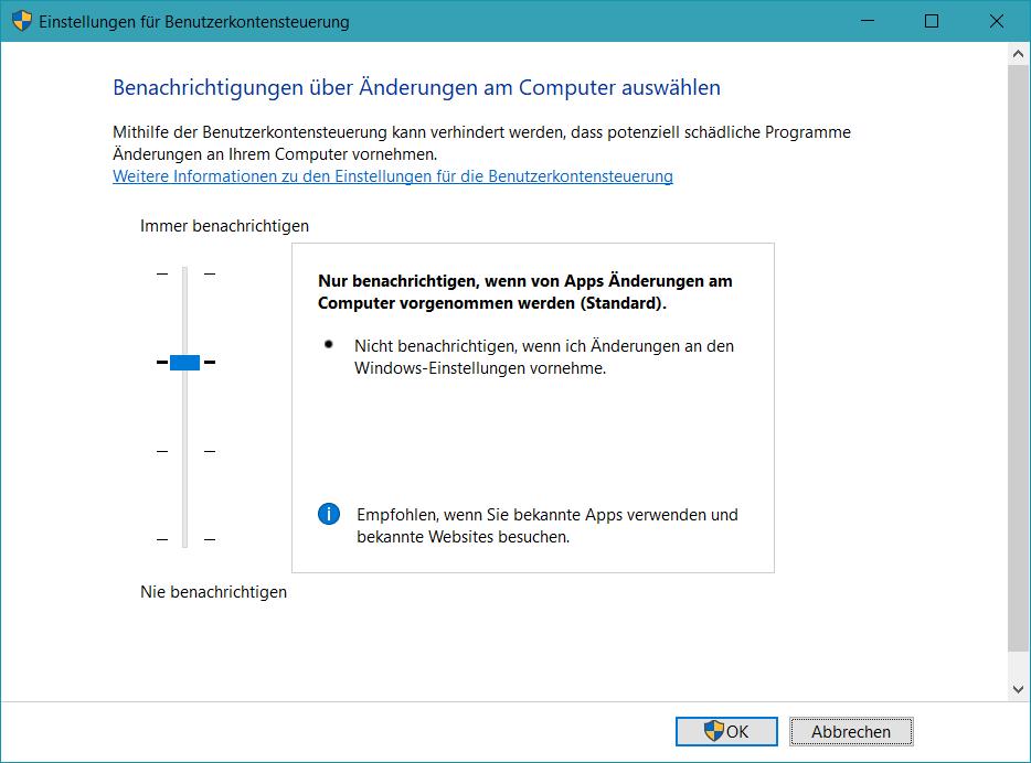 UAC Standardeinstellungen