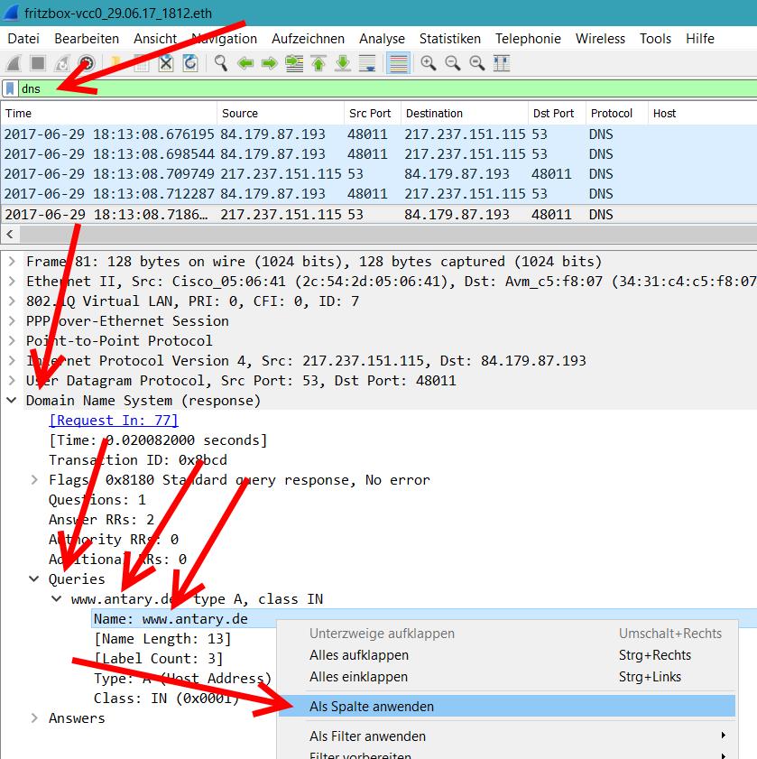 Wireshark DNS als Spalte setzen