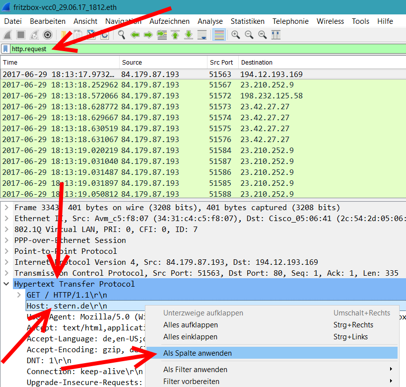 Wireshark HTTP-Hosts als Spalte setzen