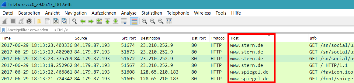Wireshark HTTP-Hosts als Spalte
