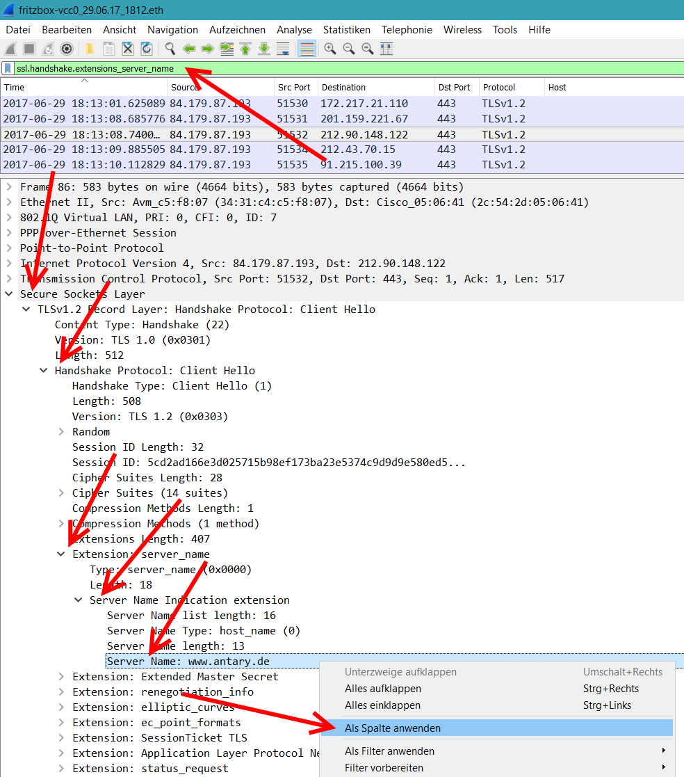 Wireshark HTTPS-Host als Spalte setzen