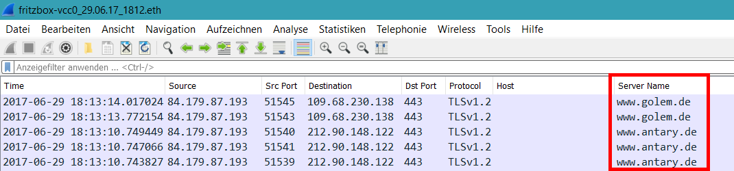 Wireshark HTTPS-Host als Spalte