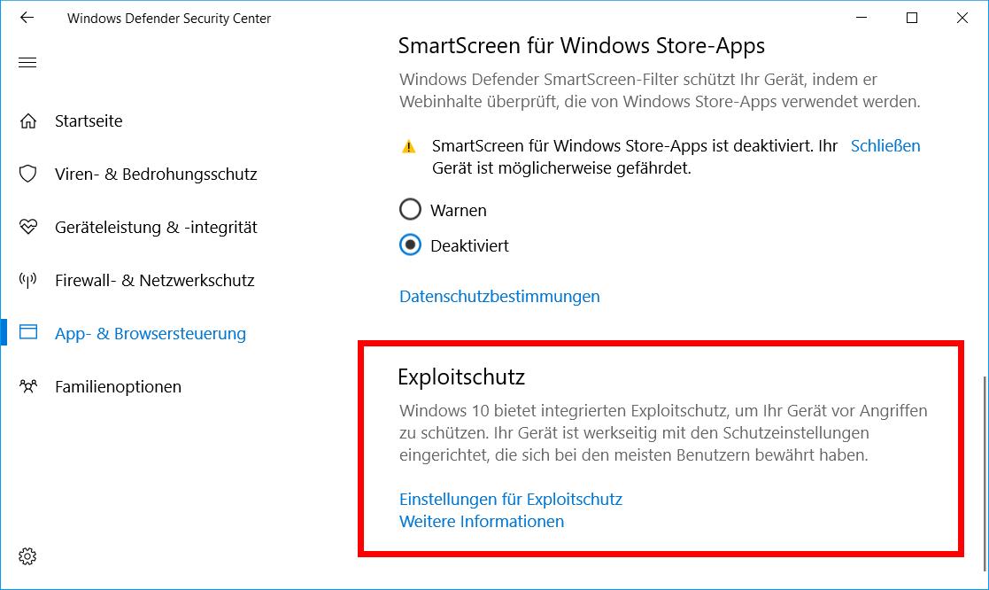 Windows 10 Exploitschutz