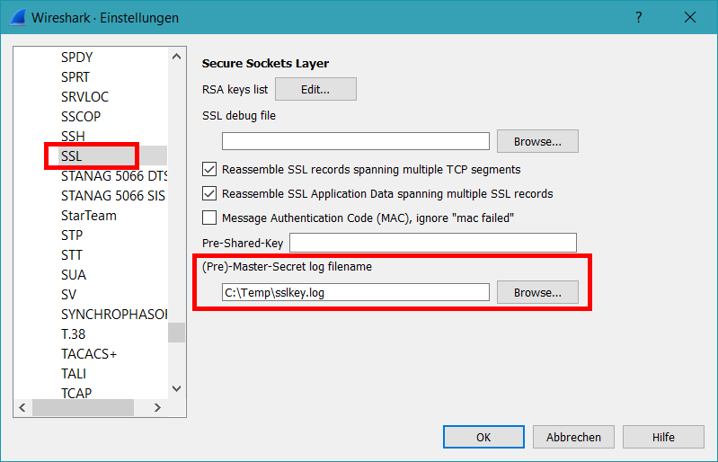 Wireshark Einstellungen SSL
