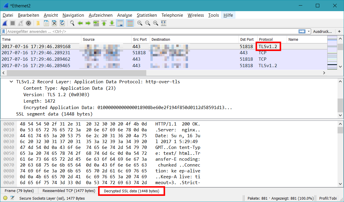 Wireshark SSL decrypted