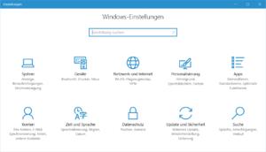 Windows 10 Einstellungen - eingeschränkt