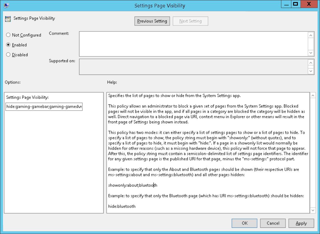 Windows 10 Einstellungen (App) via Gruppenrichtlinien