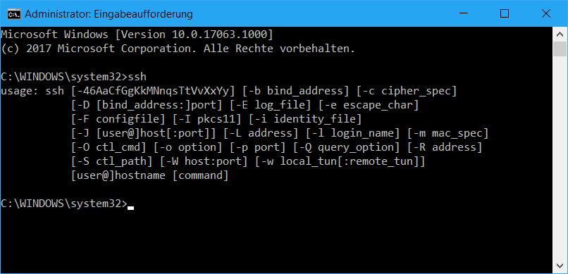 Windows 10 SSH Eingabeaufforderung